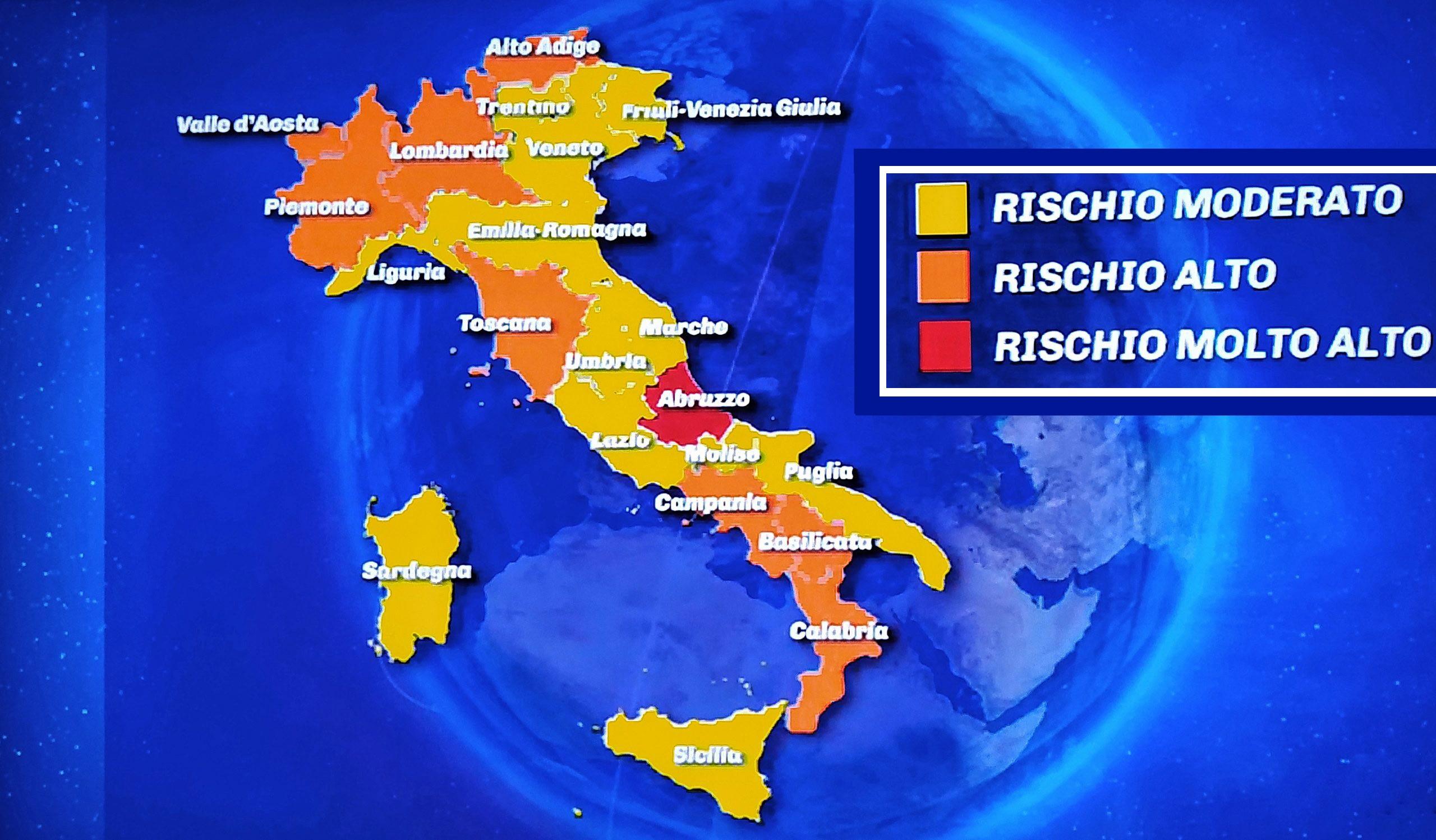 Cartina Della Regione Abruzzo.L Abruzzo Torna Regione Rossa Il Tribunale Amministrativo Ha Accolto Il Ricorso Del Governo Abruzzolive